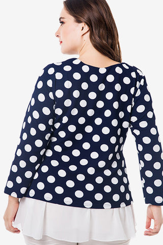 Plus Size Adorable Layered A-Line Flare Polka Dot Top
