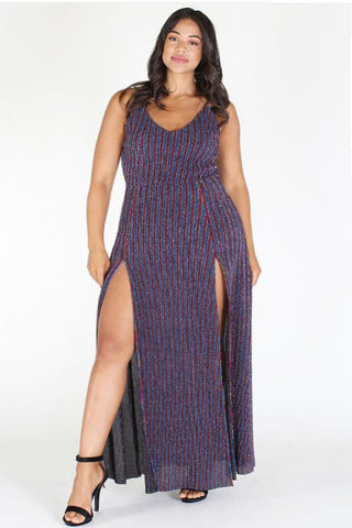 Plus Size Textured Multi Color Stripe Slit Maxi Dress [PRE-ORDER 25% OFF]