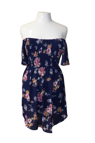 Plus Size Blossom Ruched Mini Dress
