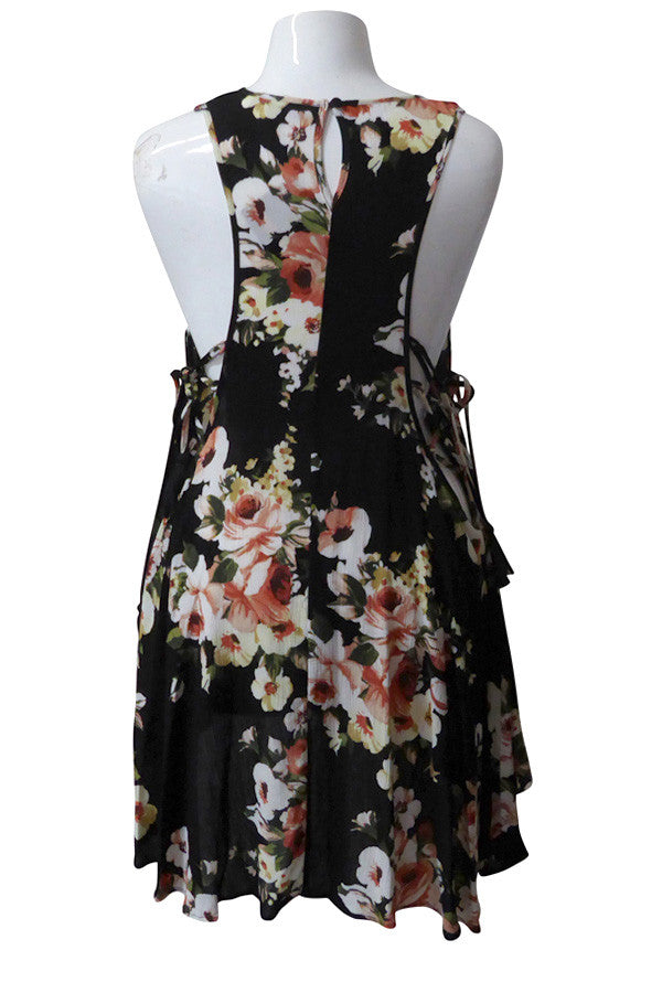 Plus Size Cut Out Sides Tassel Floral Swingy Dress