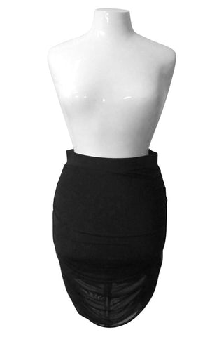 Plus Size Mesh Overlay Ruched Pencil Skirt