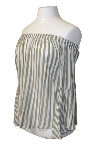 Plus Size Striped Off Shoulder Bell Sleeve Top