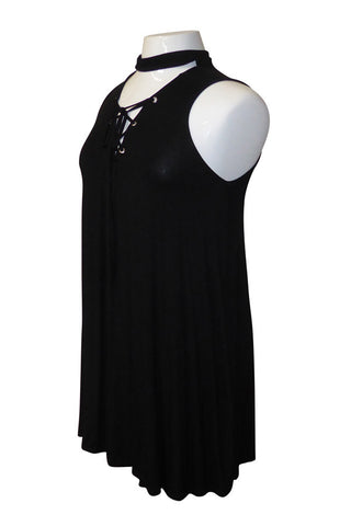 Plus Size Lace Up Neck Swingy Dress [SALE]