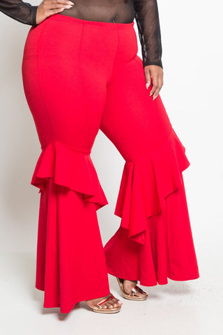 Plus Size High Rise Ruffle Crepe Pants