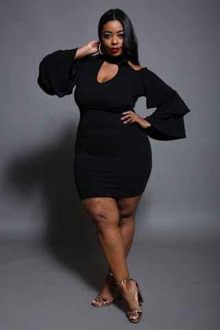 Plus Size Knit Dress with Ruffle Sleeve
