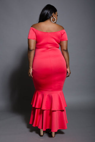 Plus Size Mermaid Ruffle Maxi Dress