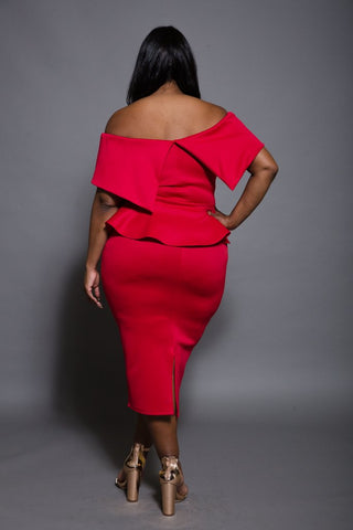 Plus Size Belted Top and Skirt Set