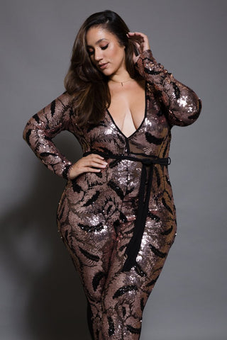 Plus Size Sparkling Deep V-Neck Sequin Jumpsuit