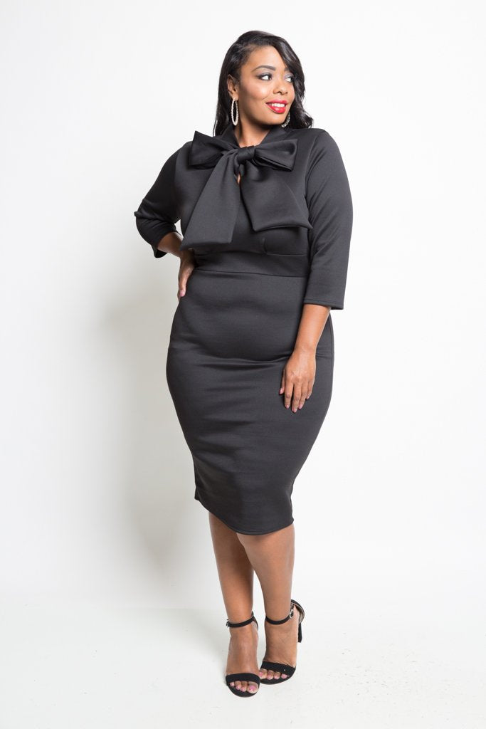 Plus Size Elegant Neck Bow Tie Midi Dress [SALE] – Plussizefix