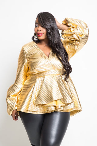 Plus Size Puff Sleeve Faux Leather Peplum Top