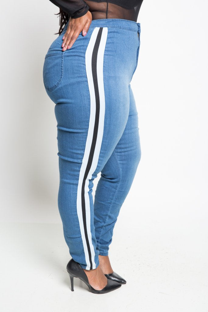 Plus Size Cool Stripe Skinny Jeans