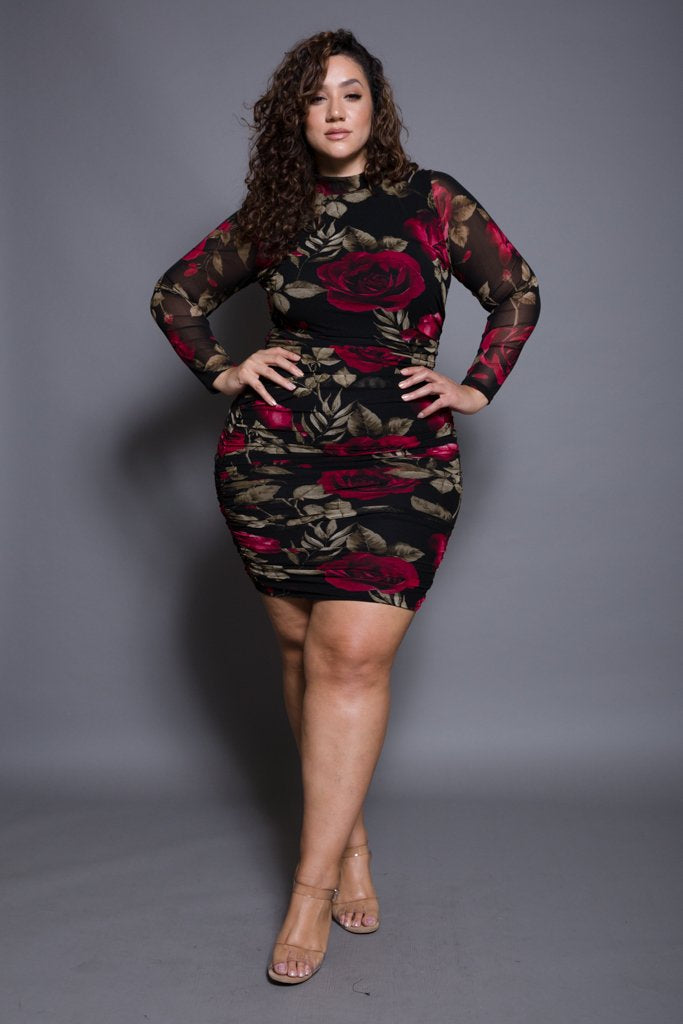 c73c920370a Plus Size Sexy Long Sleeve Floral Mesh Mini Dress  SALE  – Plussizefix