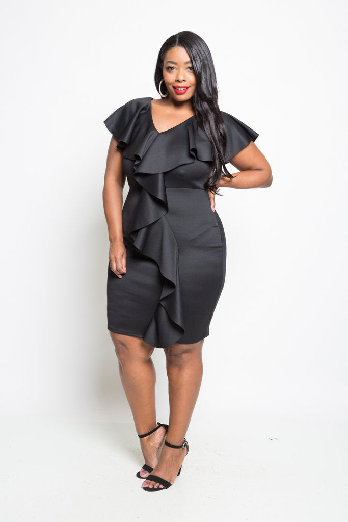 Plus Size Effortless Ruffle Down Mini Dress
