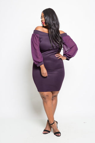 Plus Size Off Shoulder Chiffon Sleeve Mini Dress