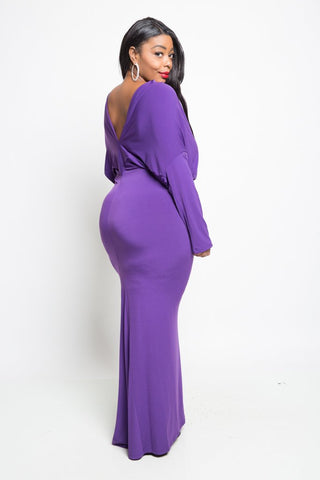 Plus Size Alluring Open Back Low-V Maxi Dress