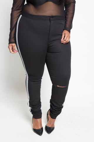 Plus Size Sporty Side Stripe Jeans