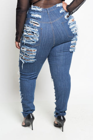 Plus Size High Fashion Ultra Sliced Denim