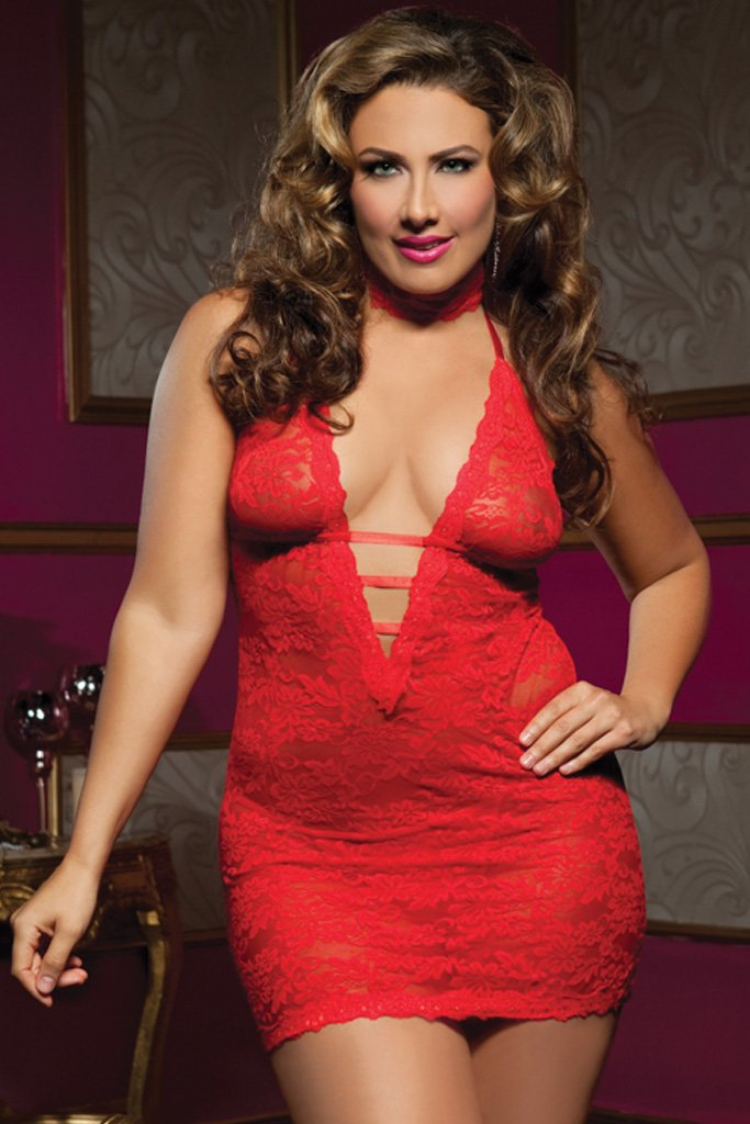 Plus Size Floral Lace Haltered Chemise Set [Final Sale Item]