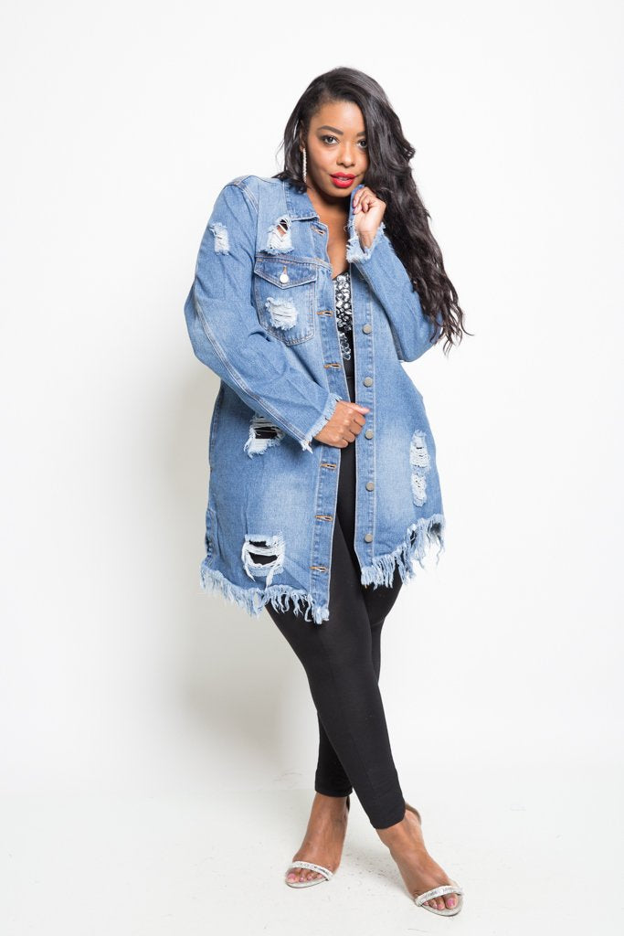 7f3ca8114e5 Plus Size Trendy Destroyed Long Denim Jacket – Plussizefix