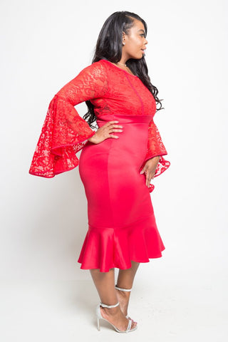 Plus Size See Through Lace Ruffle Midi Dress