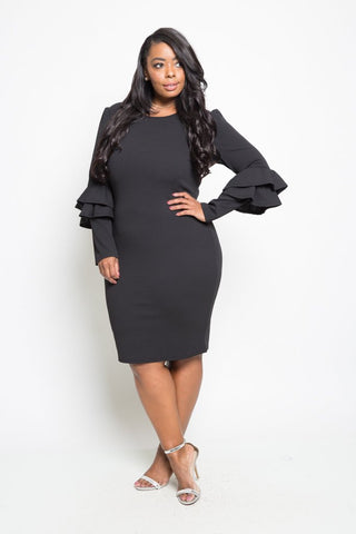 Plus Size Elegant Ruffled Up Long Sleeved Dress