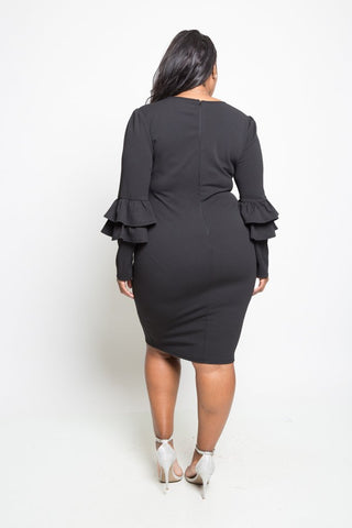 aaffb00874e ... Plus Size Elegant Ruffled Up Long Sleeved Dress ...