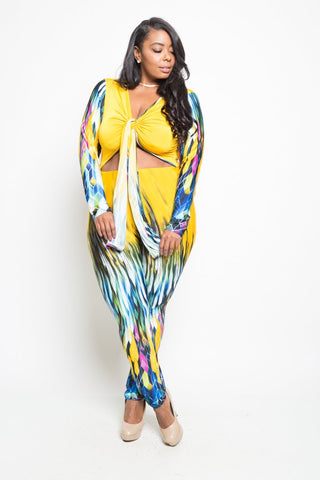 Plus Size Abstract Print Tie Up Sexy Jumpsuit
