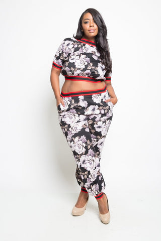 Plus Size 2-Piece Floral Cropped Jogger Set