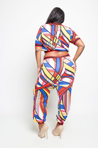 Plus Size Colorful 2-Piece Cropped Jogger Set
