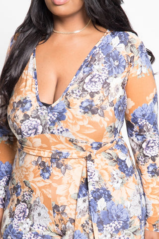 Plus Size Seductive Floral Printed Tie Jumpsuit