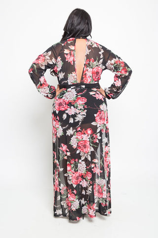 Plus Size Double Slit Flowy Floral Maxi Dress