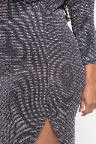 Plus Size Shimmer In Style 3/4 Sleeved Bodycon Dress