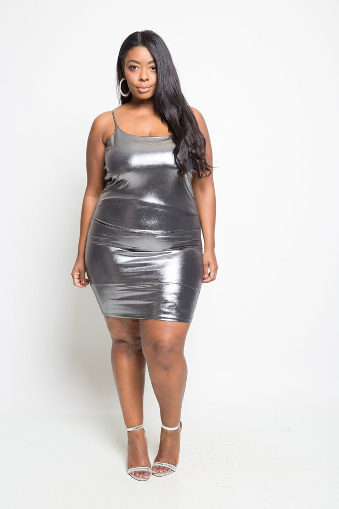 Plus Size Metallic Club Midi Dress