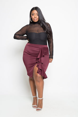 Plus Size Chic Ruffled Skirt
