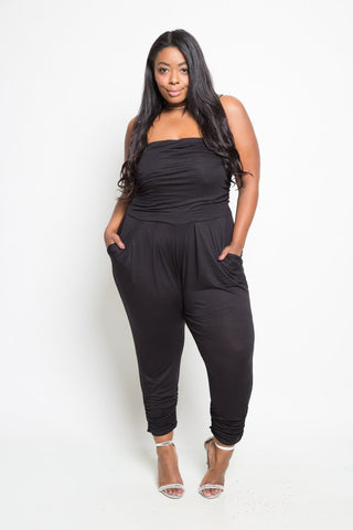 Plus Size Off Shoulder Pocketed Ruched Jumpsuit
