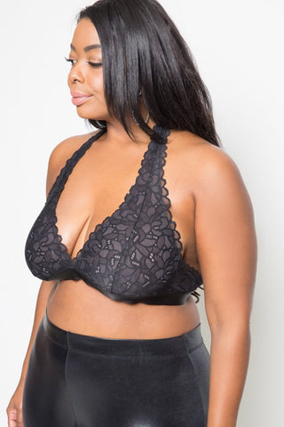 Plus Size Floral Lace Overlay Bralette [Final Sale Item]