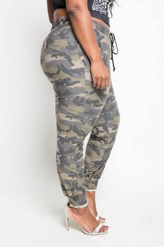 Plus Size Cozy Camo Jogger Pants