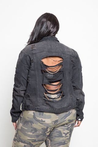 Plus Size Chain Design Distressed Denim Jacket