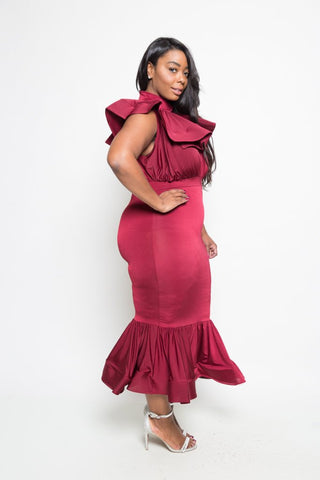 Plus Size Tiered Ruffle Mermaid Maxi Dress