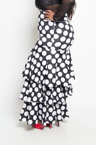 Plus Size Layered Polka Dot Maxi Skirt