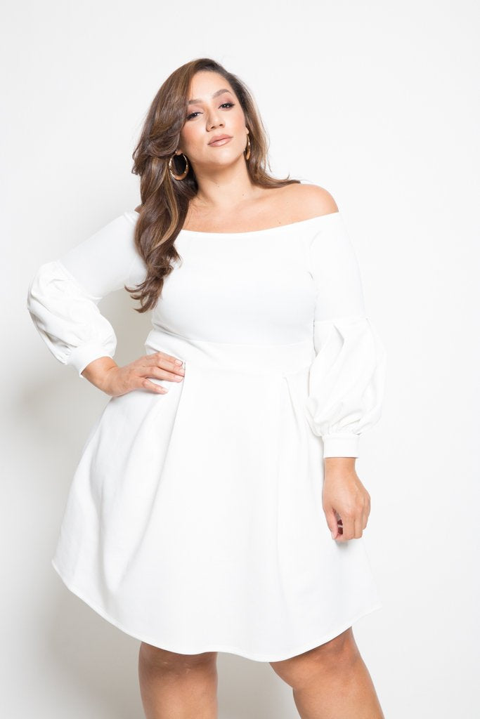 Plus Size Long Sleeve Skater Dress Plussizefix