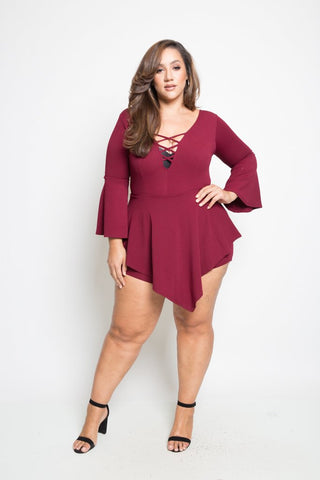 Plus Size Hot Cross Straps Asymmetric Dress