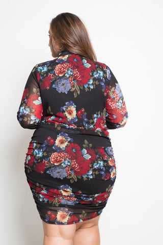 Plus Size Gorgeous Floral Mesh Bodycon Dress