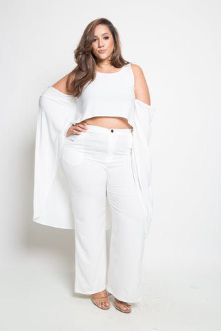 Plus Size Elegant 2-Piece Top Bottom Pants Set