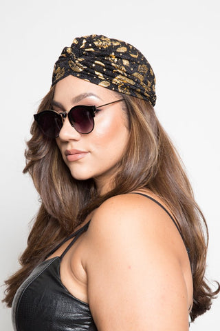 Golden Metalic Fashion Headwrap