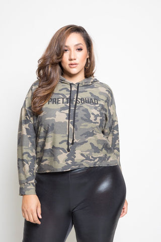Plus Size Camo Terry Hooded Sweater