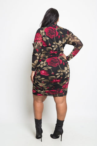 Plus Size Sexy Long Sleeve Floral Mesh Mini Dress