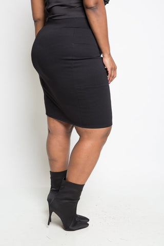 Plus Size Zip Up Trim Midi Skirt