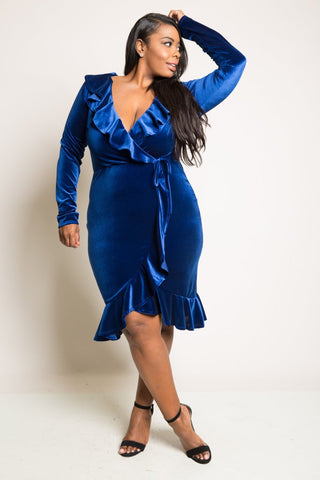 Plus Size Glam Ruffled Wrap Soft Velvet Dress [SALE]