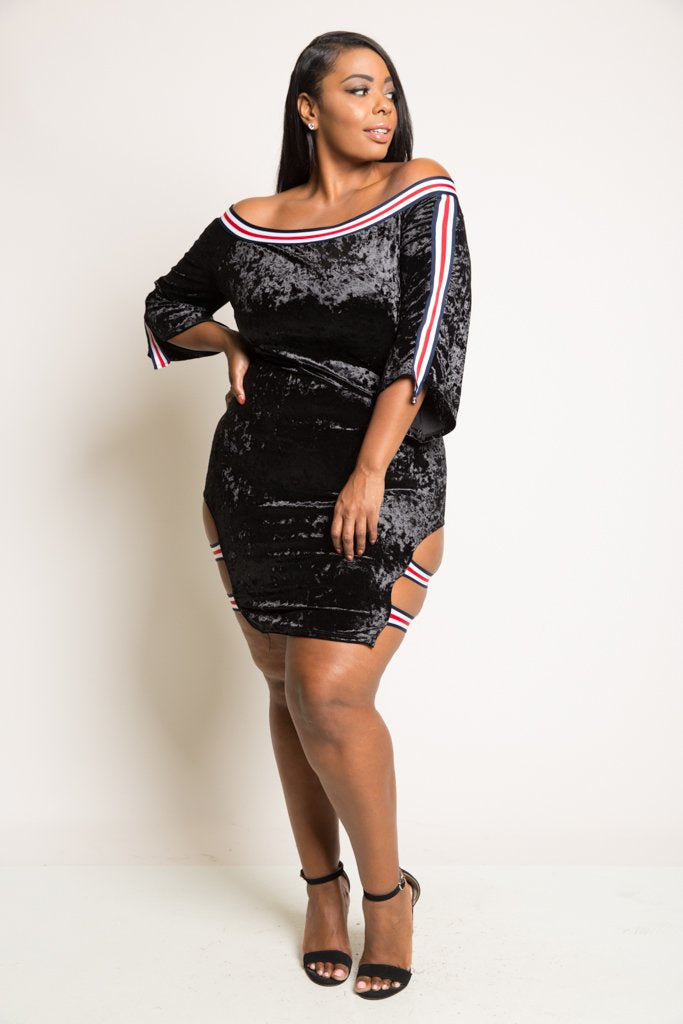Plus Size Sexy and Fun Sporty Soft Velvet Mini Dress